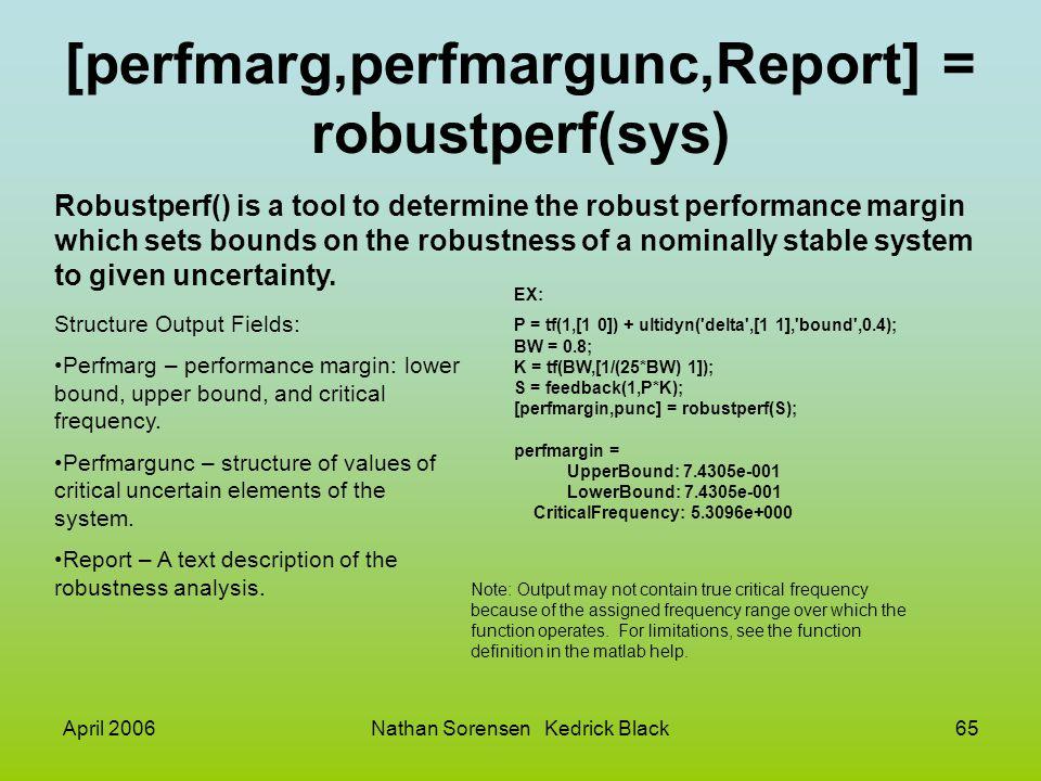 [perfmarg,perfmargunc,Report] = robustperf(sys)